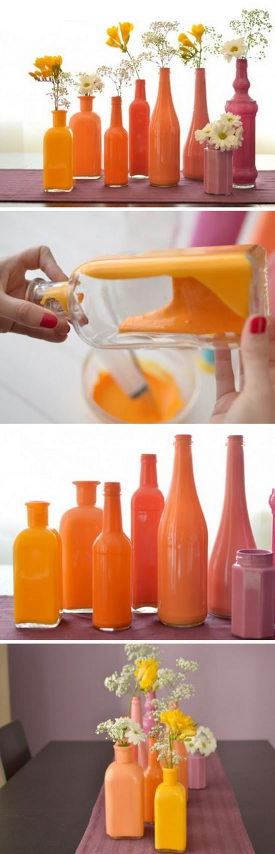 Vasinhos Coloridos com Garrafas de Vidro