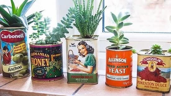 Vasos para Plantas com Latas