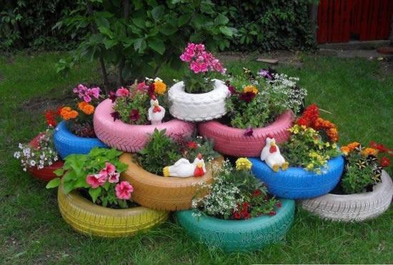 Vasos feitos com Pneus velhos