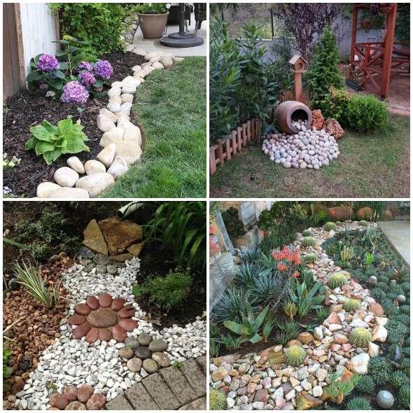 Decoraç u00e3o de Jardim com Pedras Como fazer em casa -> Decoração De Jardim Com Vasos E Pedras