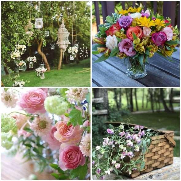 Vasos com flores naturais para jardim