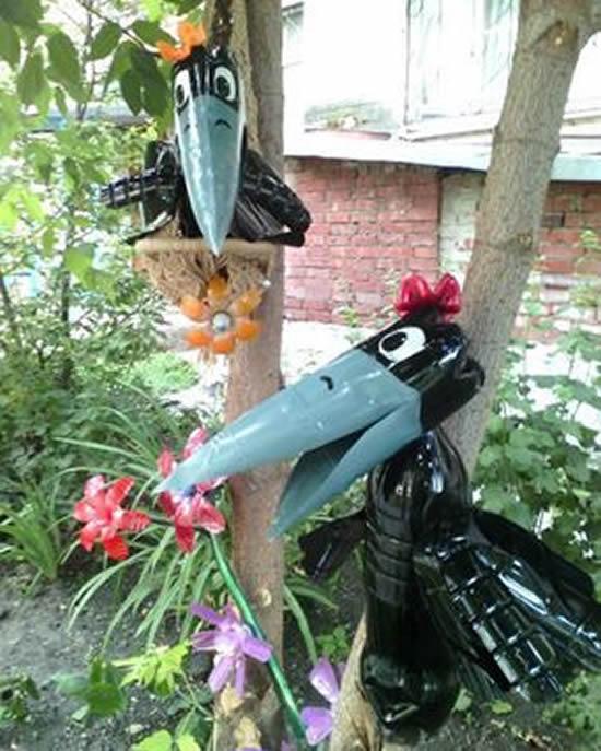 Bichinhos com Garrafas Plásticas para Jardim