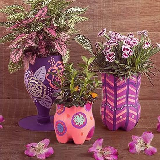 Inspirações para Vasos com Garrafas PET