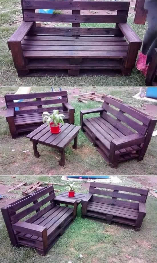Lindo Sofá de Pallets para o Jardim
