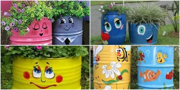 Galão de Lixo Decorado para Jardim