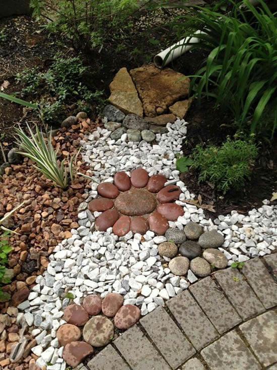 Decoração com pedras no jardim