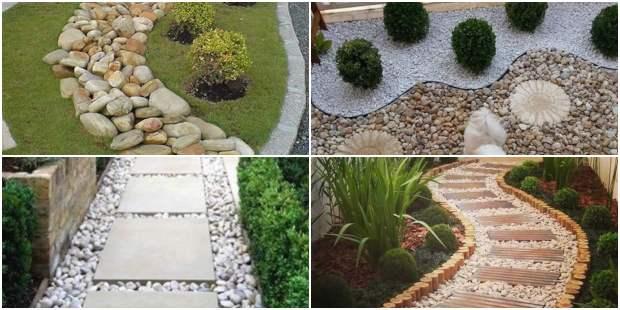 Jardim decorado com pedras e plantas