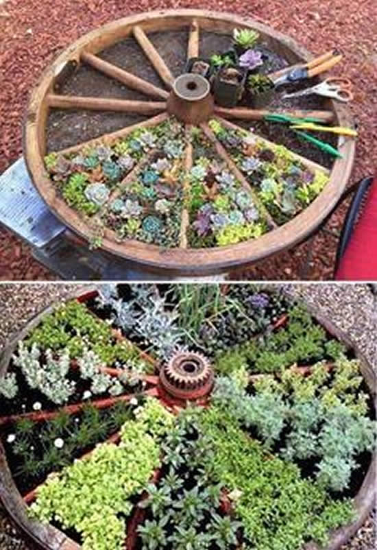 Decoração com coisas antigas para jardim