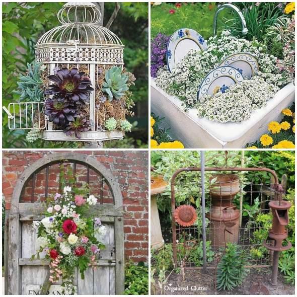 Decoração de jardim com coisas antigas
