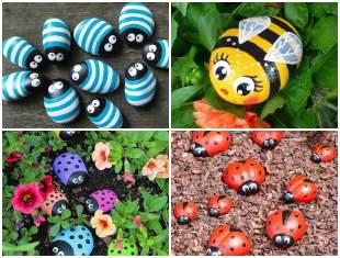 Bichinhos com pedras para decorar o jardim