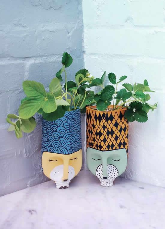 Vasos Criativos com Garrafa PET