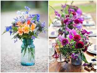 Arranjo de flores em potes de vidro