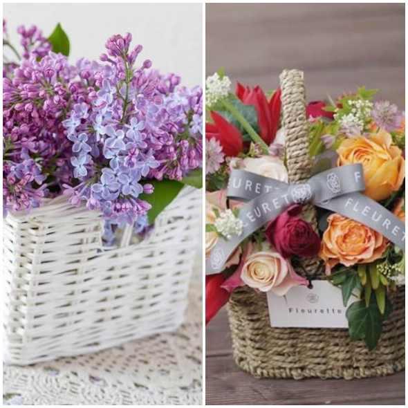 Arranjos de flores em cestas