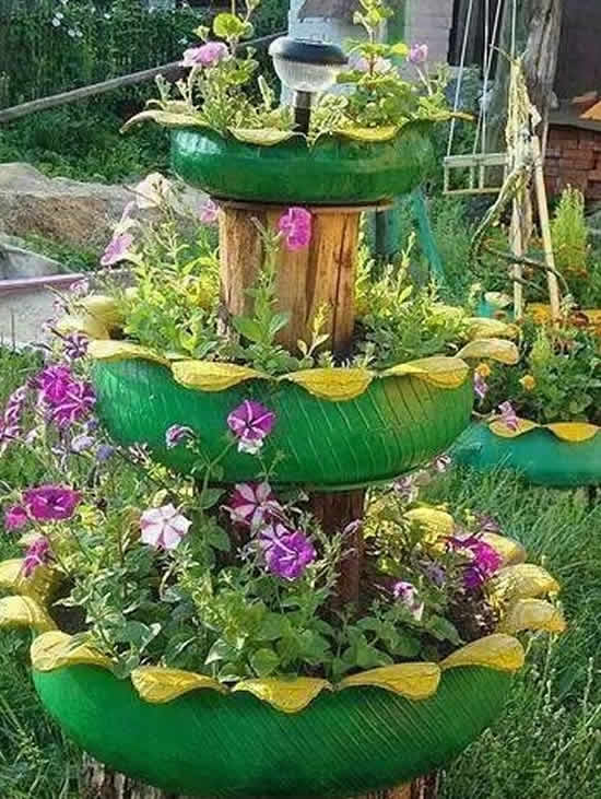 Lindos enfeites para jardim com pneus