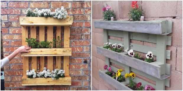 Decoração e paisagismo com pallets e flores