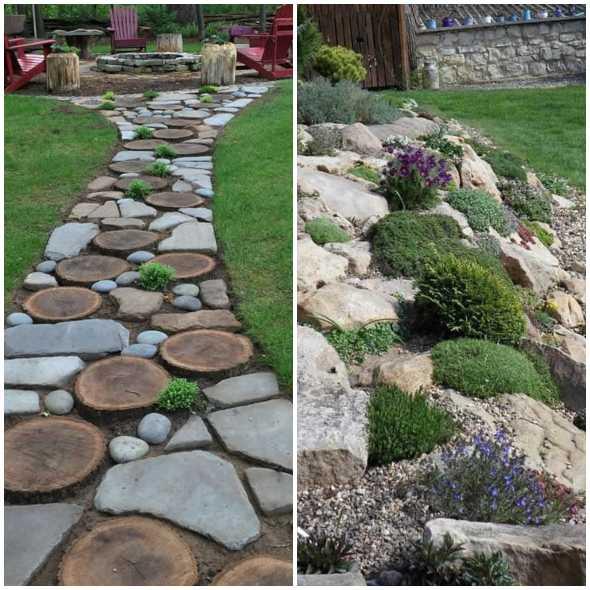 Decoração inusitada com pedras no jardim