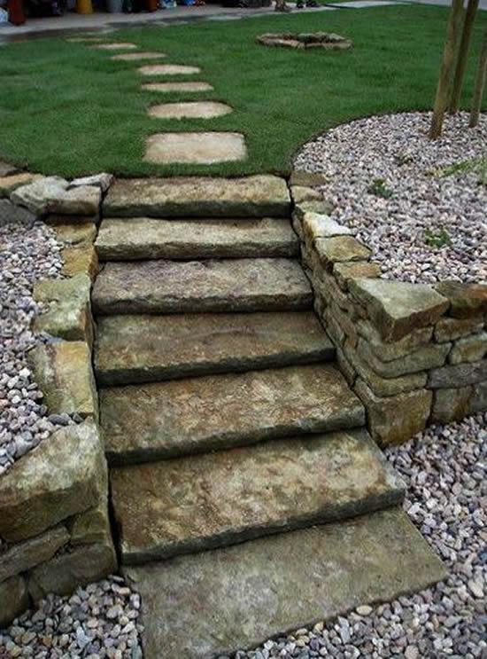 Decoração com pedras para fazer escadas de jardim