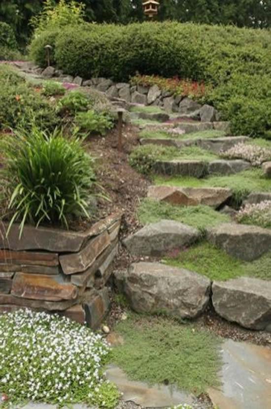 Escadas de pedra para jardim