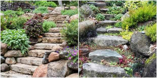 Escadas de jardim com pedras