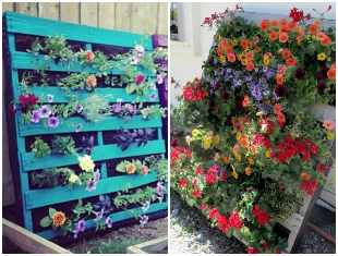 Decoração criativa com flores em pallets