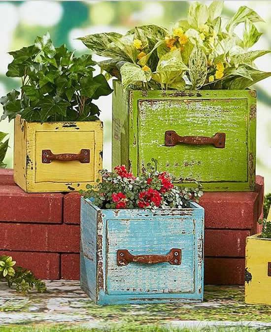 Ideias para plantar em gavetas velhas