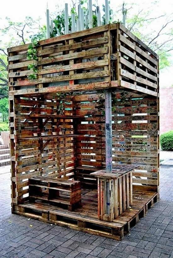 Decoração com pallets de madeira para o jardim