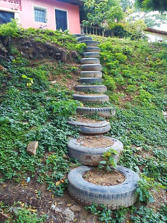 Faça uma linda escada com pneus