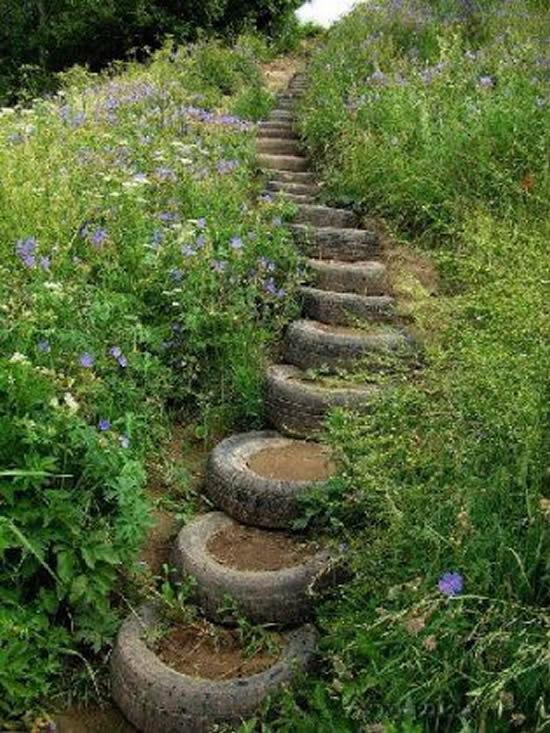 Escadas com pneus