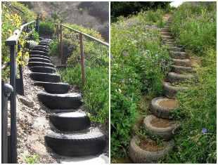 Ideias para fazer escadas com pneus