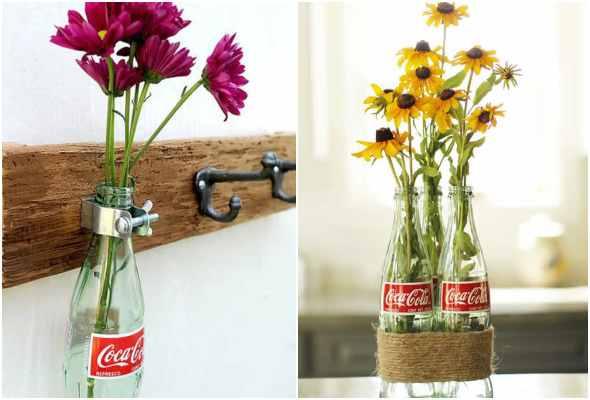 Vasos com garrafas de vidro para decoração
