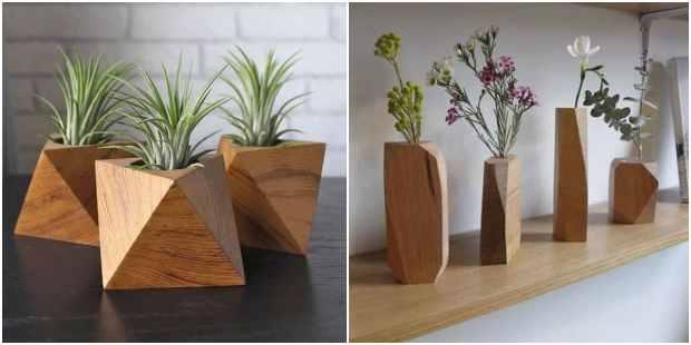 Vasos de madeira para inspiração