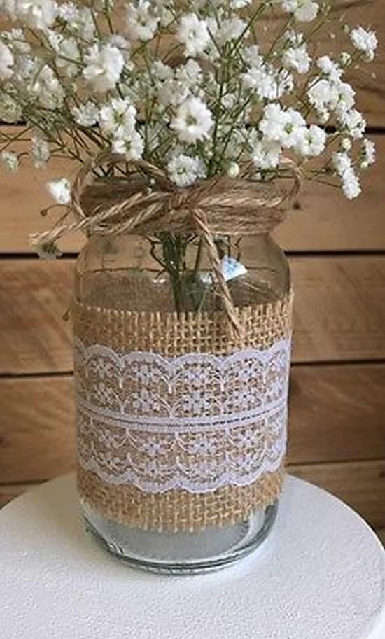 Vaso com pote de vidro para decoração