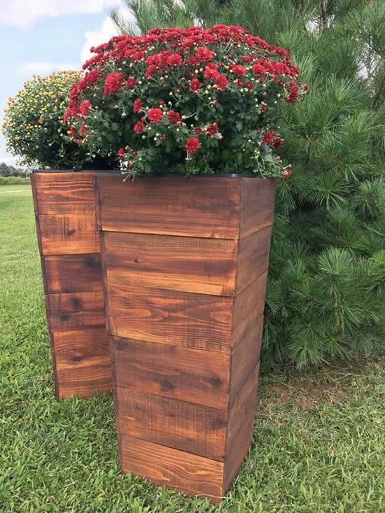 Caixotes para decoração de jardim