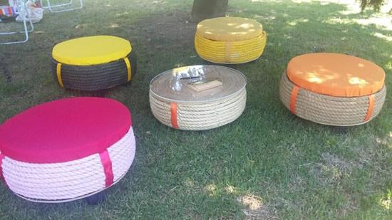 Puffs com reciclagem de pneus