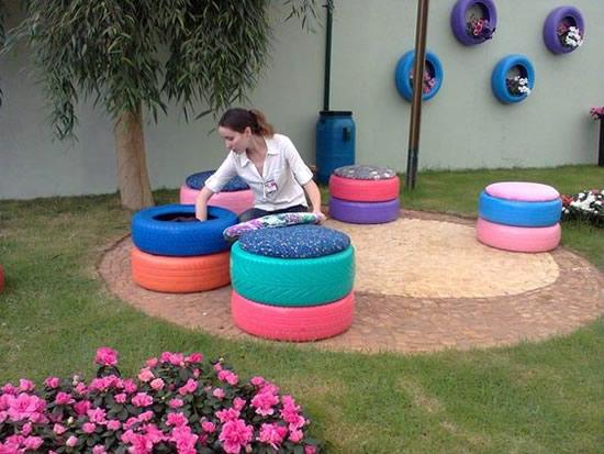 Lindos puffs com reciclagem de pneus