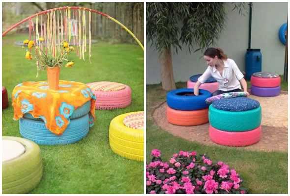 Puffs com pneus reciclados para jardim
