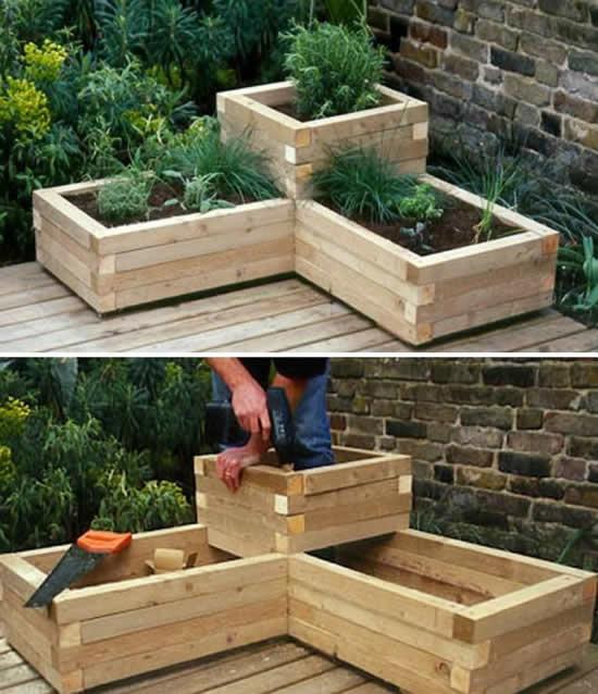 Decoração de jardim com caixote