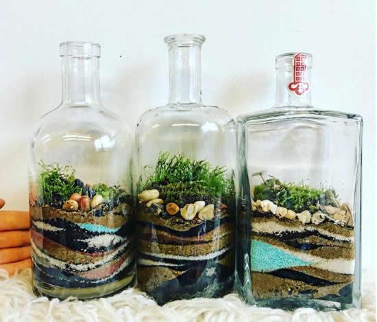 Terrários com garrafas