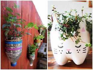 Vasos com reciclagem de garrafa PET