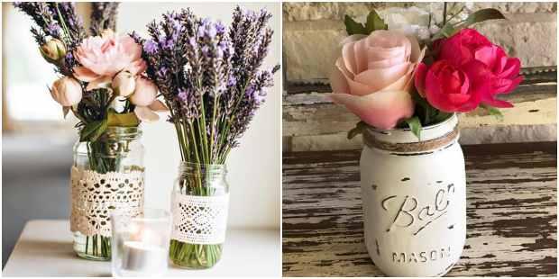Arranjos florais em potes de vidro