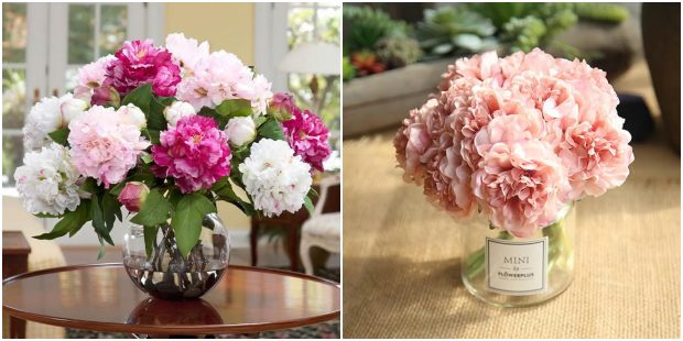 Centros de mesas com arranjos de flores