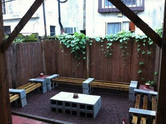 Faça móveis com blocos de concreto