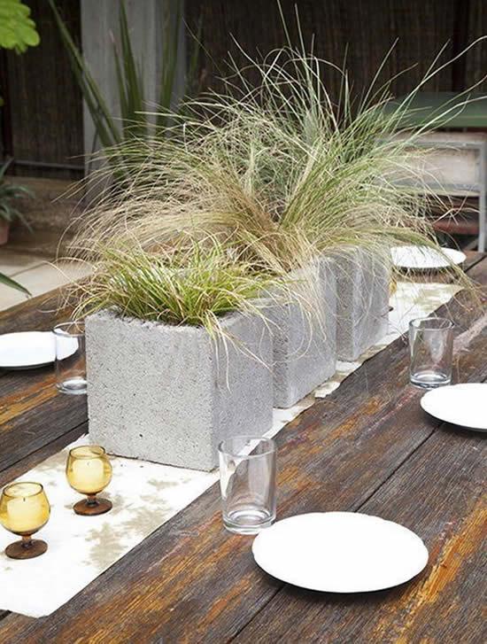 Ideia com blocos de concreto para jardim
