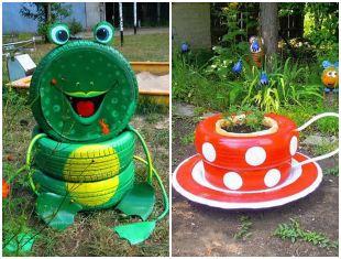 Decoração divertida com reciclagem para jardim