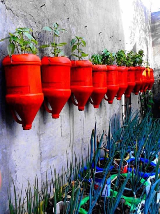 Vasos de plantas com garrafa PET
