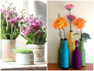 Vasos decorativos com reciclagem