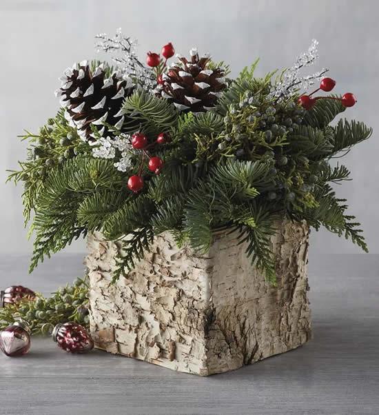 Decoração de Natal com arranjo de flores