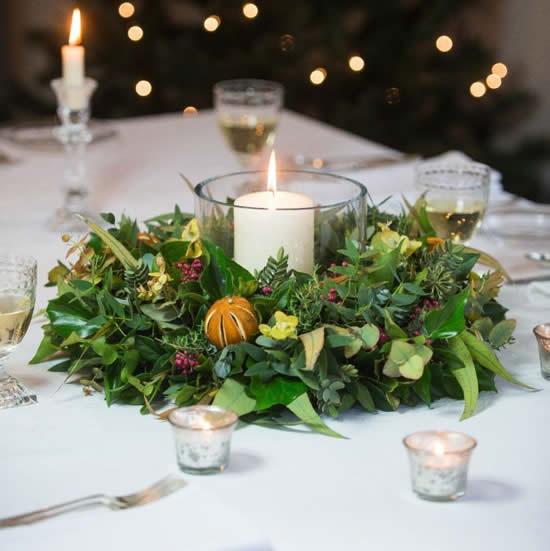 Centro de mesa de Natal com arranjo