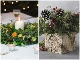 Decoração com arranjos para mesa de Natal
