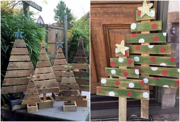 Árvores de Natal feitas de pallets